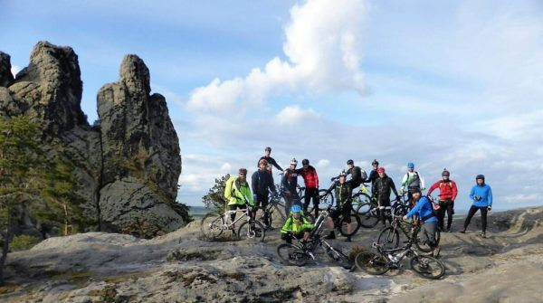 Mountainbiker am Hamburger Wappen im Harz
